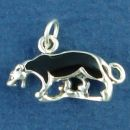 Panther 3D Sterling Silver Charm Pendant with Black Enamel
