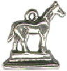 Horse Show Statue 3D Sterling Silver Trophy Charm Pendant