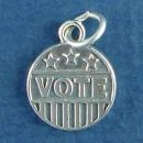 Political Disk with Vote Word Phrase and Stars and Stripes Flag Design Sterling Silver Charm Pendant