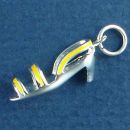 Ladies Medium Heel Straped Shoe with Yellow Enamel Accent 3D Sterling Silver Charm Pendant