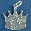 Dad, #1 Word Phrase on a Crown Sterling Silver Charm Pendant