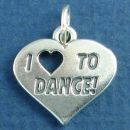 "Dance, I Love Cutout ""Heart"" To Sterling Silver Charm Pendant"