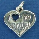 Golf, I Love To Heart Sterling Silver Charm Pendant