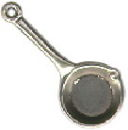 Kitchen: Frying Pan 3D Sterling Silver Charm Pendant
