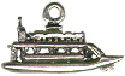River Boat Ship Nautical 3D Sterling Silver Charm Pendant