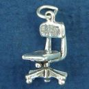 Office Chair 3D Furniture Sterling Silver Charm Pendant