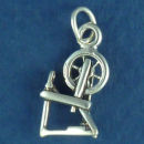 Spinning Wheel 3D Sterling Silver Charm Pendant