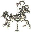Carousel Horse Small 3D Sterling Silver Charm Pendant