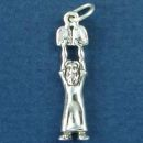 Religious Jewish Moses with Ten Commandments 3D Sterling Silver Charm Pendant