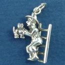 Fireman with Cat on Ladder 3D Sterling Silver Charm Pendant