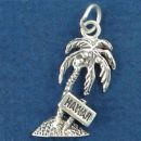 Palm Tree with Hawaii Sign Sterling Silver Charm Pendant