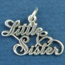 Sister, Little Famly Word Phrase Sterling Silver Charm Pendant