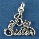 Sister, Big Famly Word Phrase Sterling Silver Charm Pendant