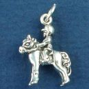 Horse with Child Rider in Show Pose 3D Sterling Silver Charm Pendant