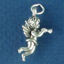 Cherubim Blowing a Horn 3D Angel Charm Sterling Silver Pendent