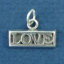 Love Word Phrase Plaque Sterling Silver Charm Pendant