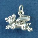 Flying Pig Charm 3D Sterling Silver Pendant