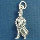 Confederate Soldier in Uniform and Drum 3D Sterling Silver Charm Pendant