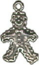 Gingerbread Man Sterling Silver Charm