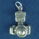 Camera 35-mm Style with Flash 3D Sterling Silver Charm Pendant