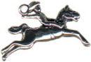 Rodeo Cowboy Roper on Horse 3D Sterling Silver Charm Pendant