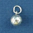 Soccer Ball Sports School 3D Sterling Silver Charm Pendant for Charm Bracelet