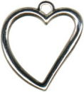 Heart Open Design Sterling Silver Charm Pendant