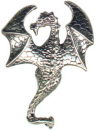 Dragon with Wings Spread Large Sterling Silver Charm Pendant