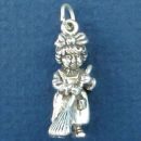 Cleaning Lady Occupation 3D Sterling Silver Charm Pendant