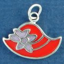 Ladie's Red Hat with Purple Enamel Flower Sterling Silver Charm Pendant