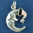 Moon: Man in Moon Sleeping with Black and Pink Enamel Night Cap Sterling Silver Charm