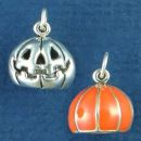 Halloween Jack O Lantern with Orange Enamel 3D Sterling Silver Charm Pendant