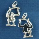 Monkey in Tree with Black Enamel Accents 3D Sterling Silver Charm Pendant