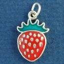 Strawberry with Red and Green Enamel Accents Sterling Silver Charm Pendant