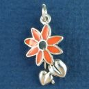 Flower with Orange and Black Enamel Accents Sterling Silver Charm Pendant