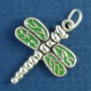 Dragonfly with Green Enamel Sterling Silver Charm Pendant