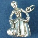 Cinderella's Fairy Godmother with Magic Wand and Pumpkin 3D Sterling Silver Charm Pendant