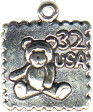 Stamp with Teddy Bear Image Sterling Silver Charm Pendant