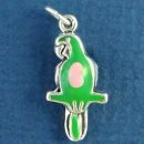 Parrot Tropical Bird with Green and Pink Enamel Accents 3D Sterling Silver Charm Pendant