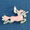 Unicorn Flying with Pink Enamel Accent 3D Sterling Silver Charm Pendant