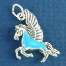 Pegasus Mythological Winged Horse with Turquoise Enamel Accent 3D Sterling Silver Charm Pendant