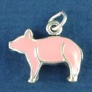 Pig or Hog with Pink Enamel Accents 3D Sterling Silver Charm Pendant