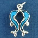 Two Kissing Dolphins with Blue Enamel Accents 3D Sterling Silver Charm Pendant
