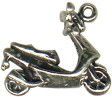Motor Scooter 3D Sterling Silver Charm Pendant