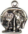 Girl at Beach Under Umbrella Charm Sterling Silver Pendant 3D