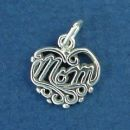Mom in Lace Heart Sterling Silver Charm Pendant