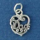 Dad Word Phase in Lace Sterling Silver Heart Charm Pendant