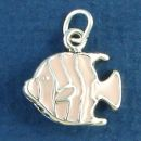 Tropical Fish with Pink Enamel Accents 3D Sterling Silver Charm Pendant