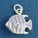 Tropical Fish with Purple Enamel Accents 3D Sterling Silver Charm Pendant