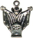 Halloween Vampire Dracula over RIP Grave Stone 3D Sterling Silver Charm Pendant